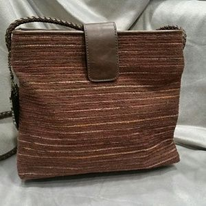 Relic Brown Fabric and Faux Leather Crossbody Bag
